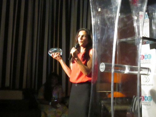 emily accepts first award